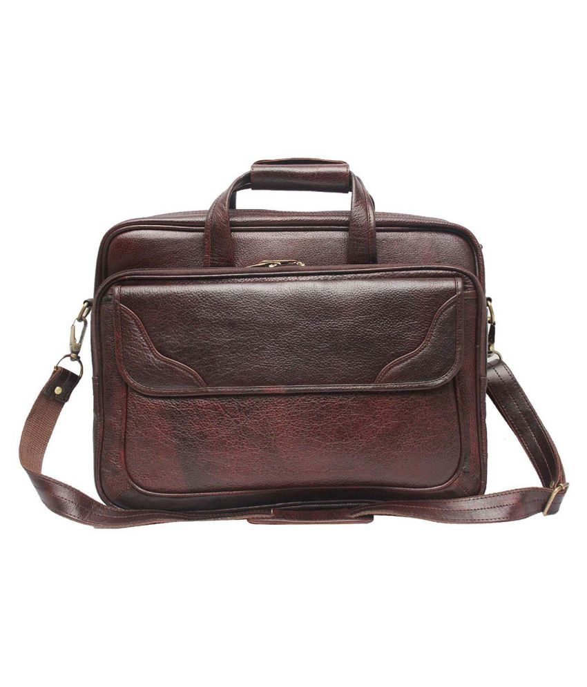 Hifly Laptop Messenger Bag with Expandable Features Brown Leather Office Messenger Bag