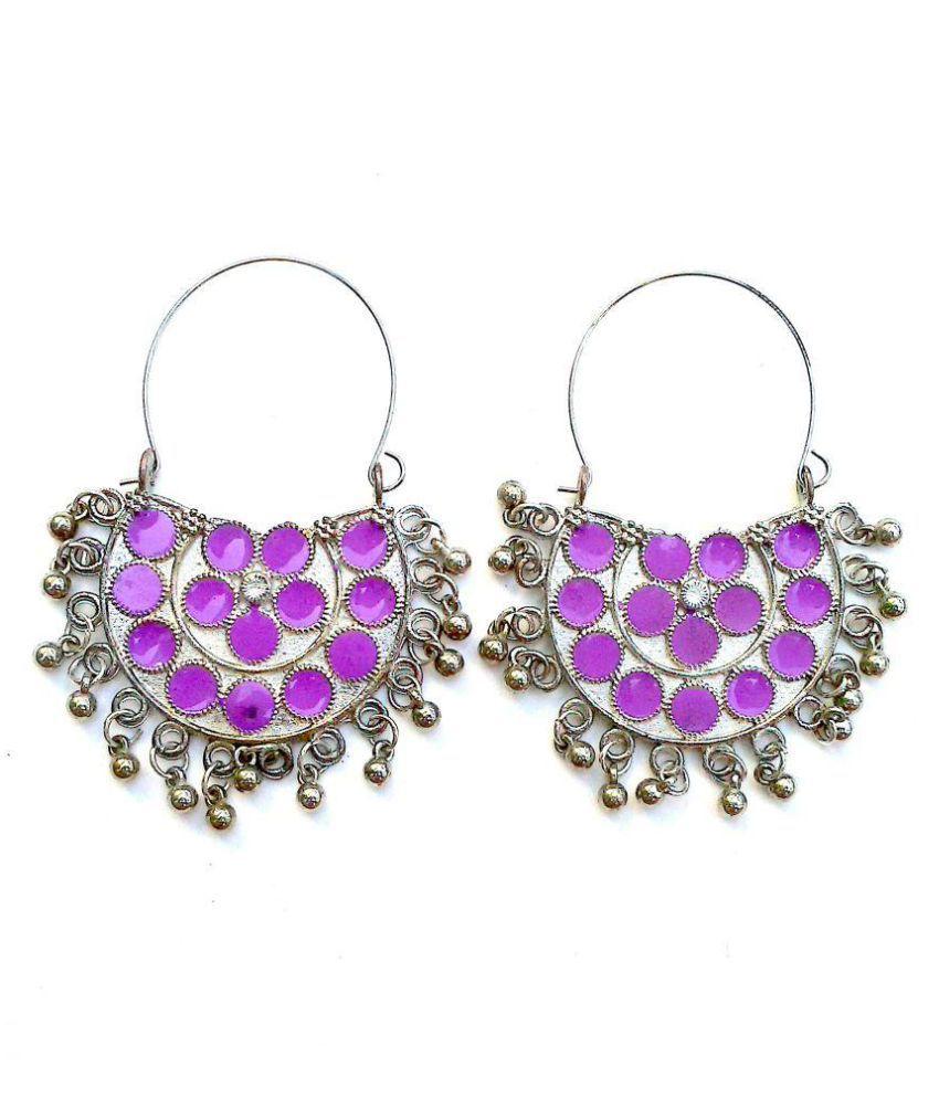 Oxidised Purple Afgaani Earrings