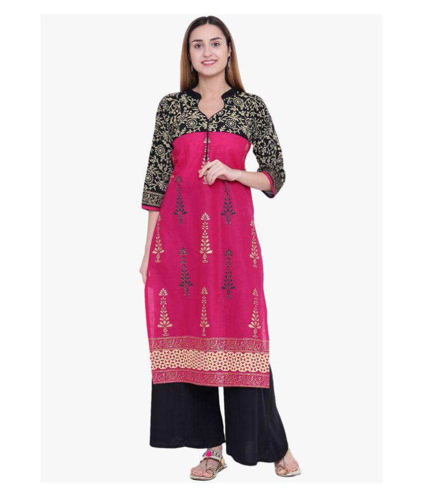 Varsha Fashion Pink Cotton Straight Kurti