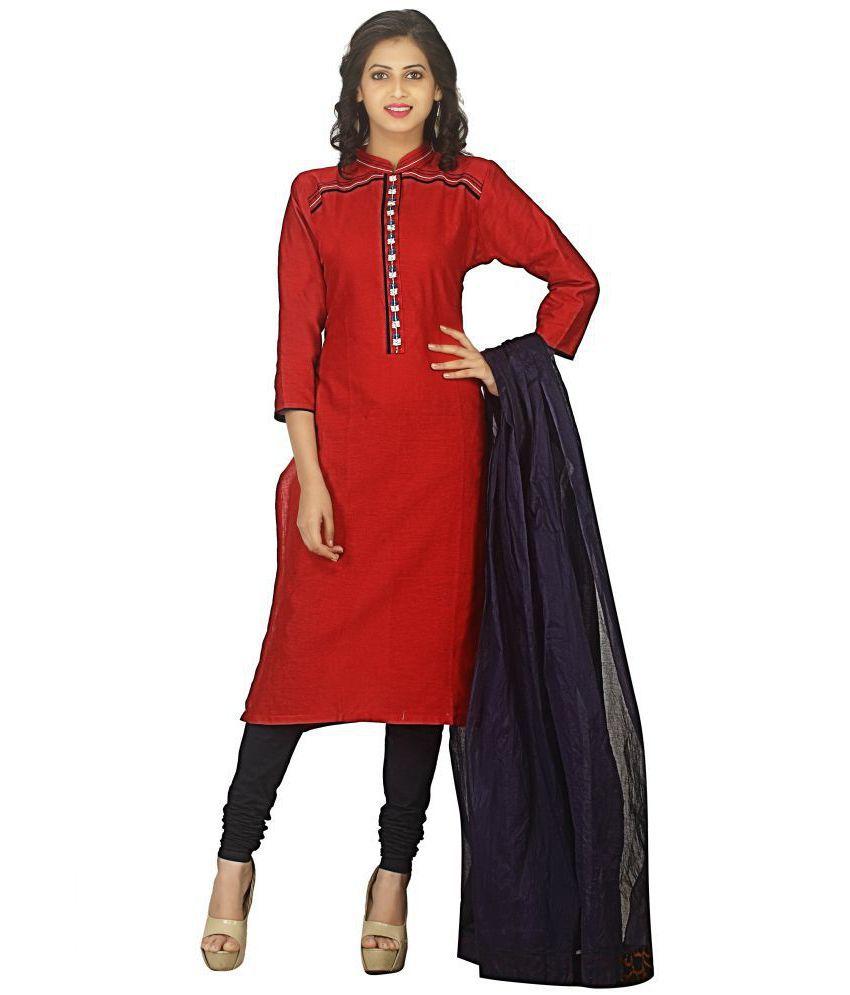 AVYUKTA Red Cotton Straight Stitched Suit