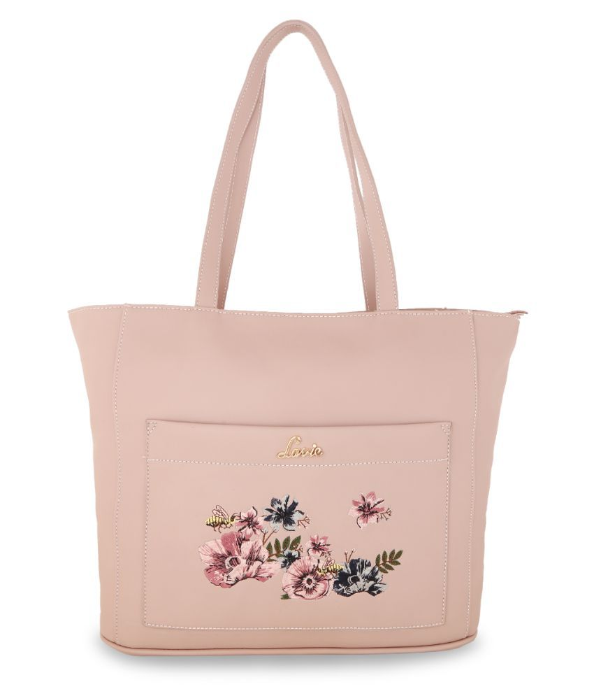 Lavie Pink Faux Leather Tote Bag