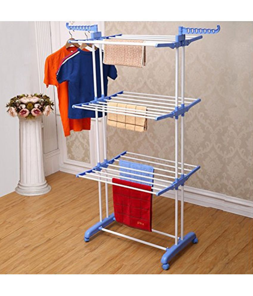 Mild steel powder coated 3 tier laundry cloth drying stand dryer rack