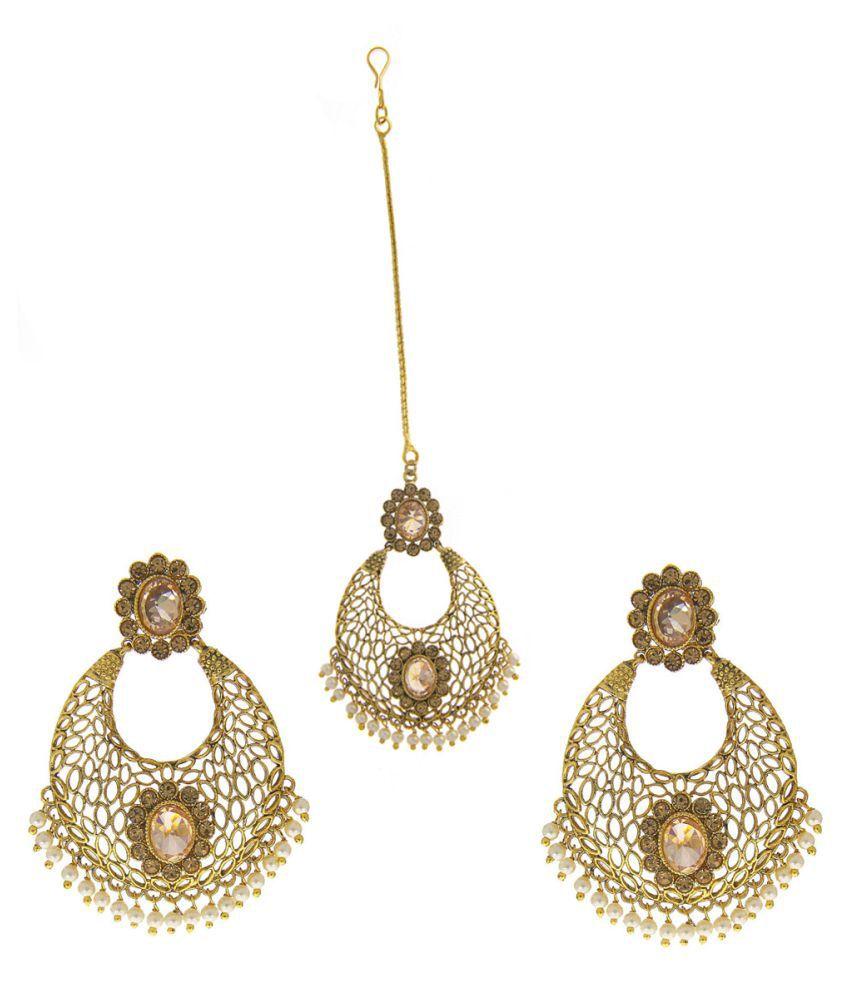 Anuradha Art Gold Finish Studded Stone Wonderful Traditioanl Mang Tikka Earrings Set For Women/Girls