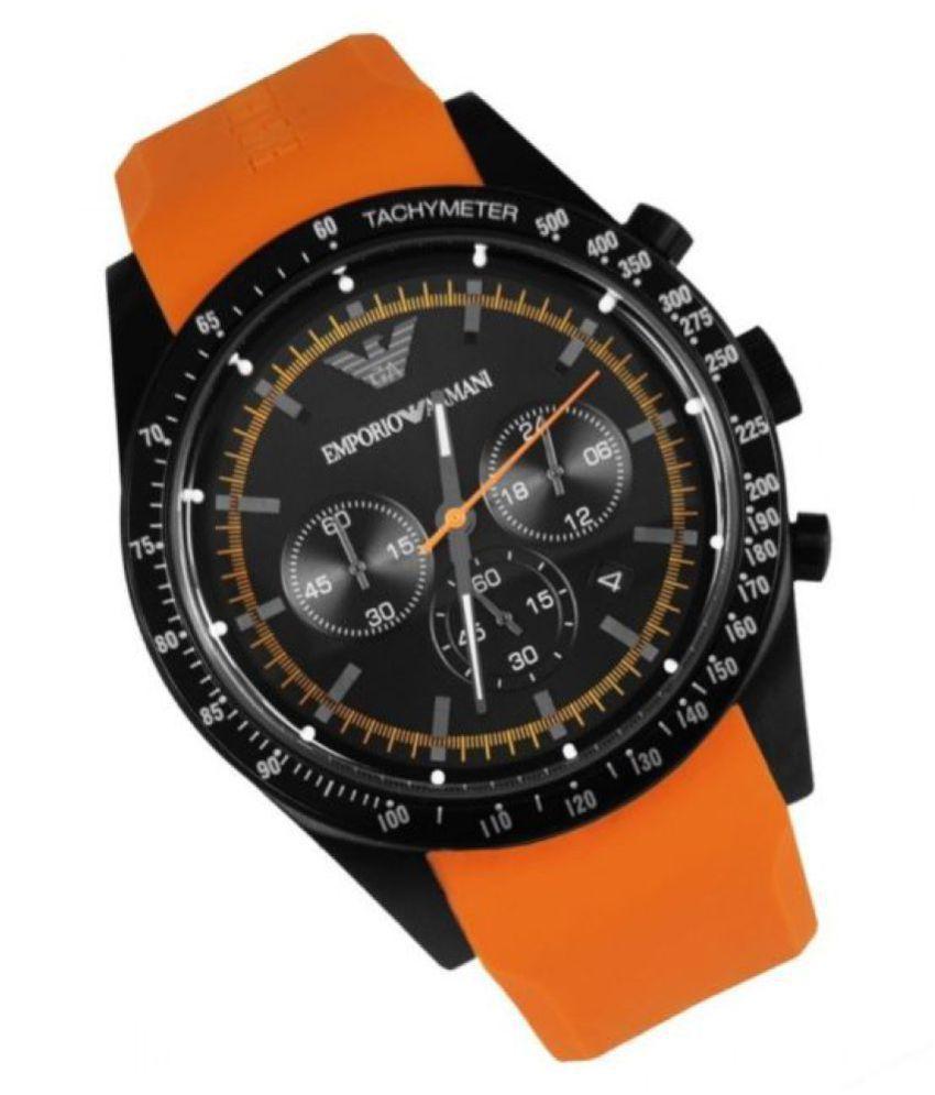 cute no sale tax best website Timeless AR5987 Black Orange Sporty Silicon Chronograph Men's Watch