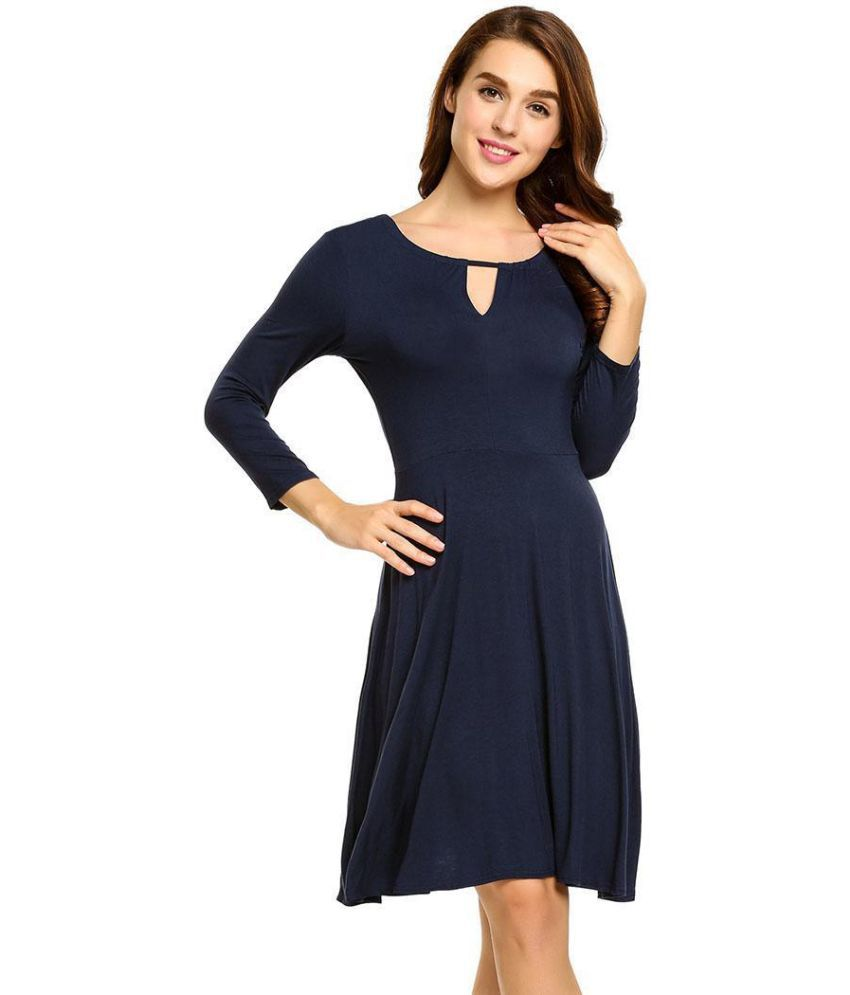 Generic Rayon blue Fit And Flare Dress