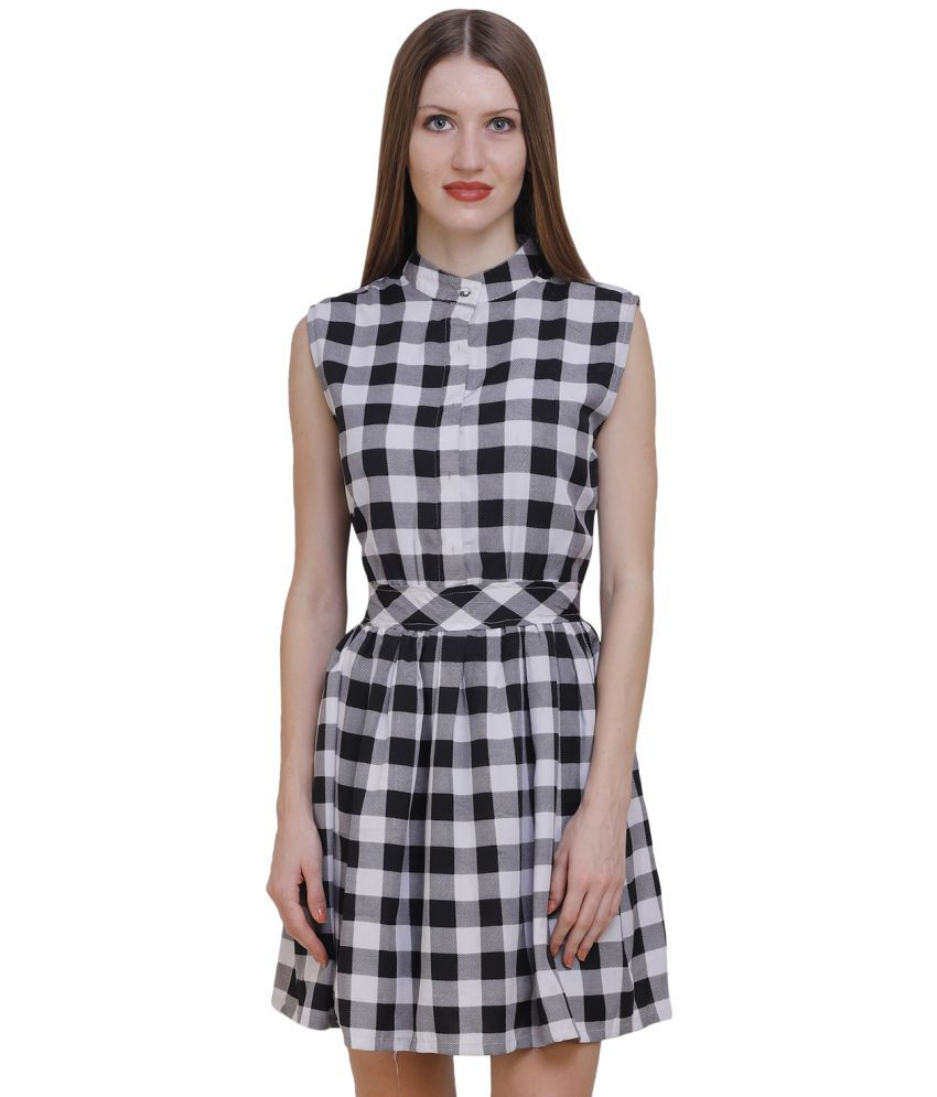 Jayla Polyester White Fit And Flare Dress