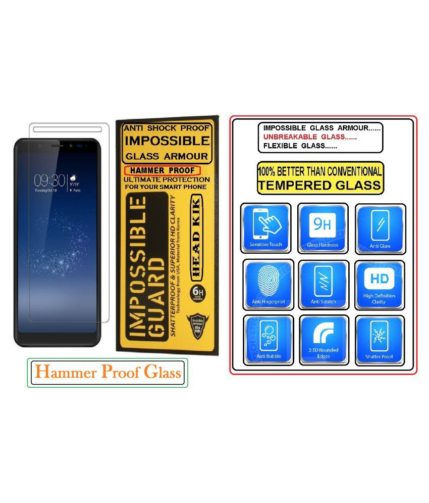 Universal5.5 Anti Shock Screen Guard By Head Kik Flexible 100% Hammer Proof Impossible Tempered