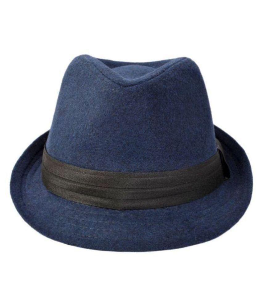 GOLD STAR Blue Plain Cotton Hats