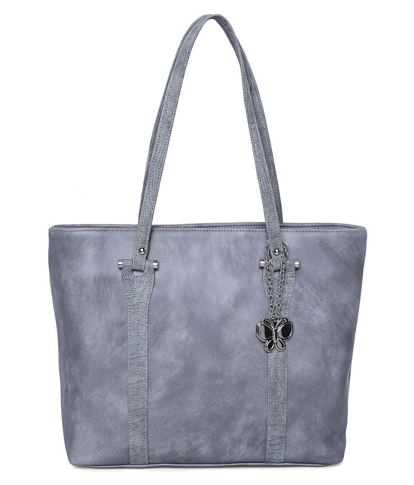 Butterflies Gray Artificial Leather Handbags Accessories