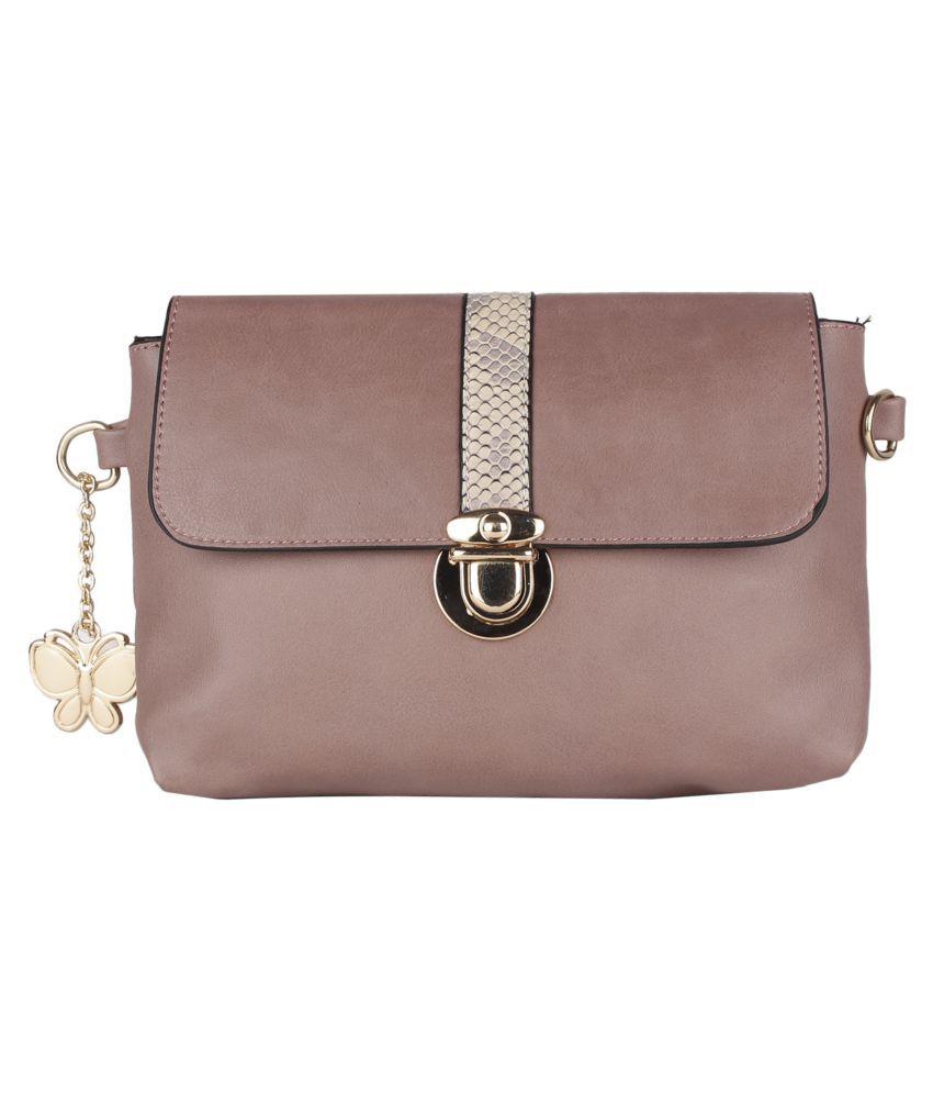 Butterflies Pink Artificial Leather Sling Bag