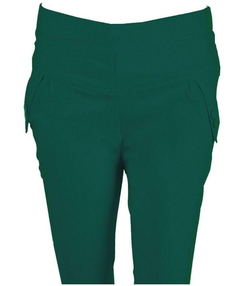 Bragger Cotton Lycra Jeggings - Green