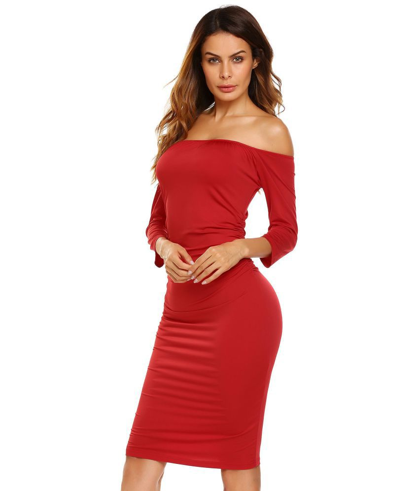 Generic Polyester red Pencil Dress