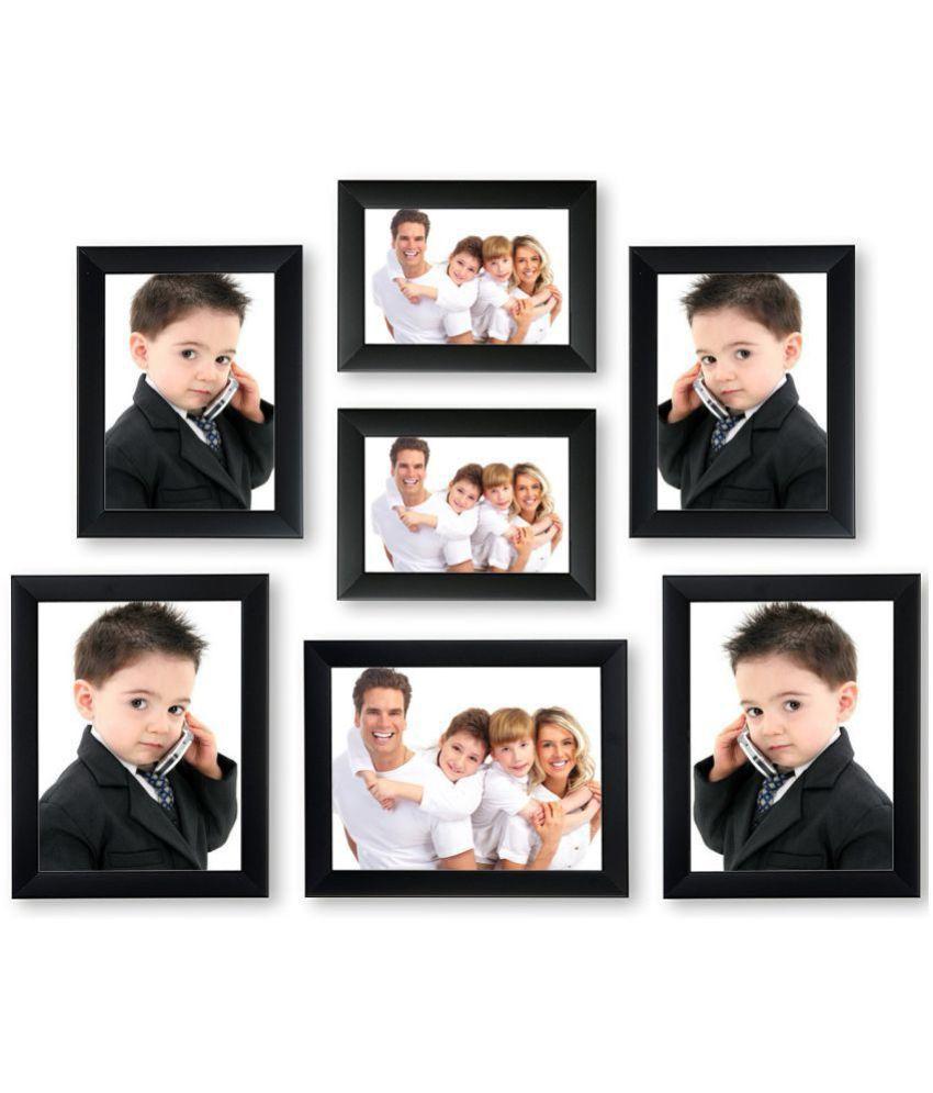 MAGIC GIFT Wood Wall Hanging Black Photo Frame Sets - Pack of 7