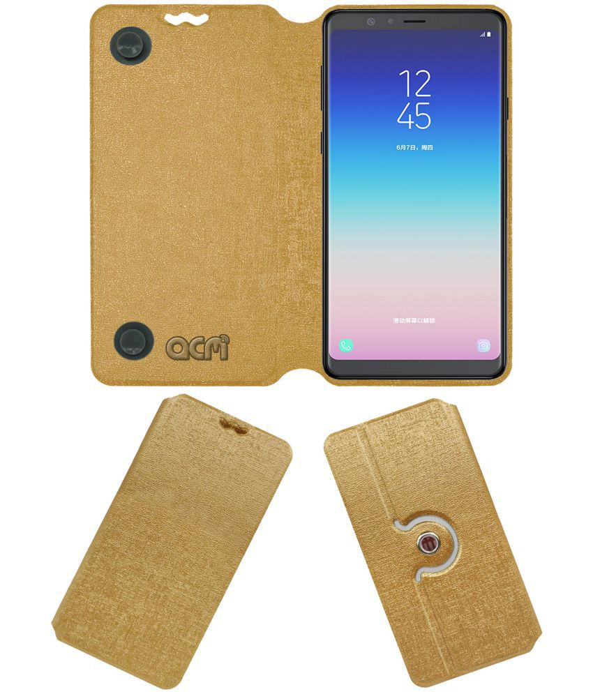Samsung Galaxy A8 Star Flip Cover by ACM - Golden Dual Side Stand