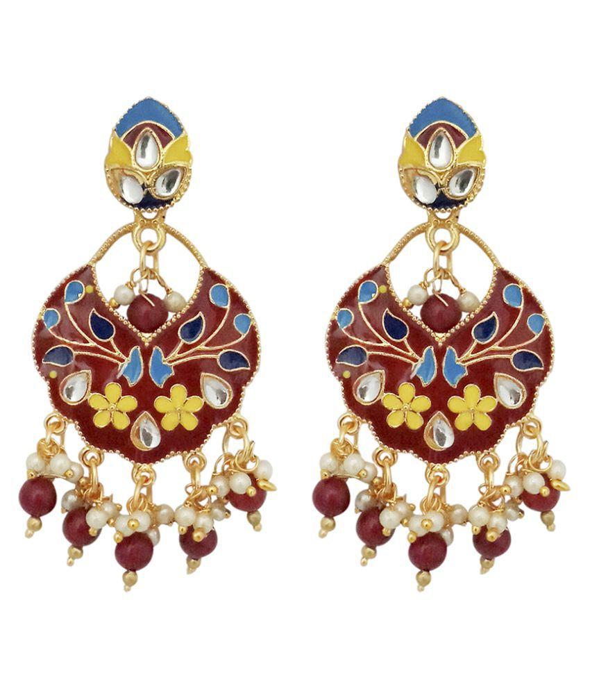 JewelMaze Gold Plated Maroon Meenakari Kundan Dangler Earrings-1314203B