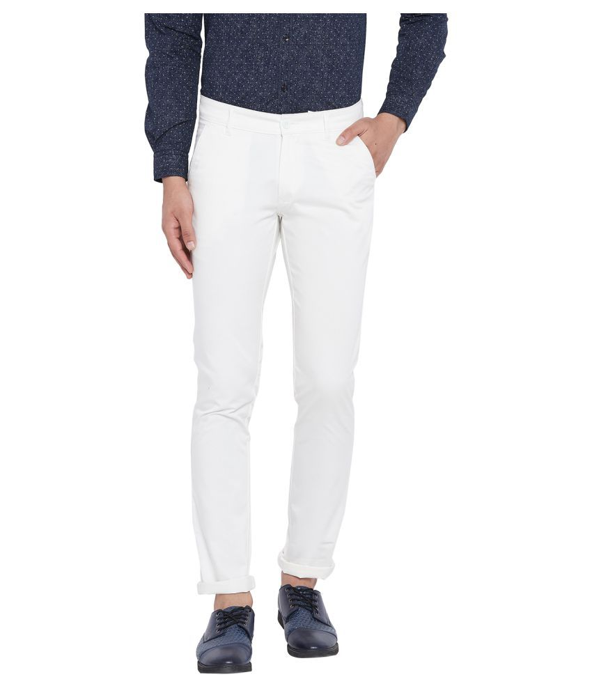 Canary London Off White Slim -Fit Flat Chinos
