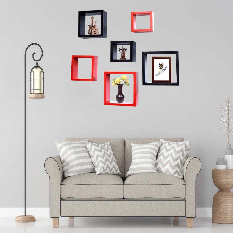 Desi Karigar Wall Mount Shelves Square Shape Set Of 6 Wall Shelves - Red & Black