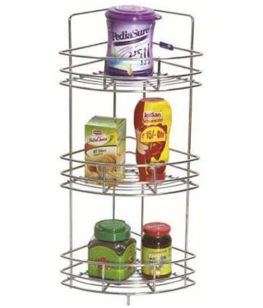 Stainless Steel Kitchen Corner Stand Triple Size 9x27 Inch Living Room An Bedroom Stand All Product Use Buy Online At Best Price In India Snapdeal