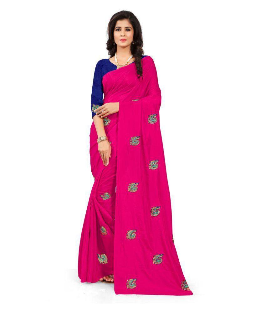 PAGALY Pink Paper Silk Saree