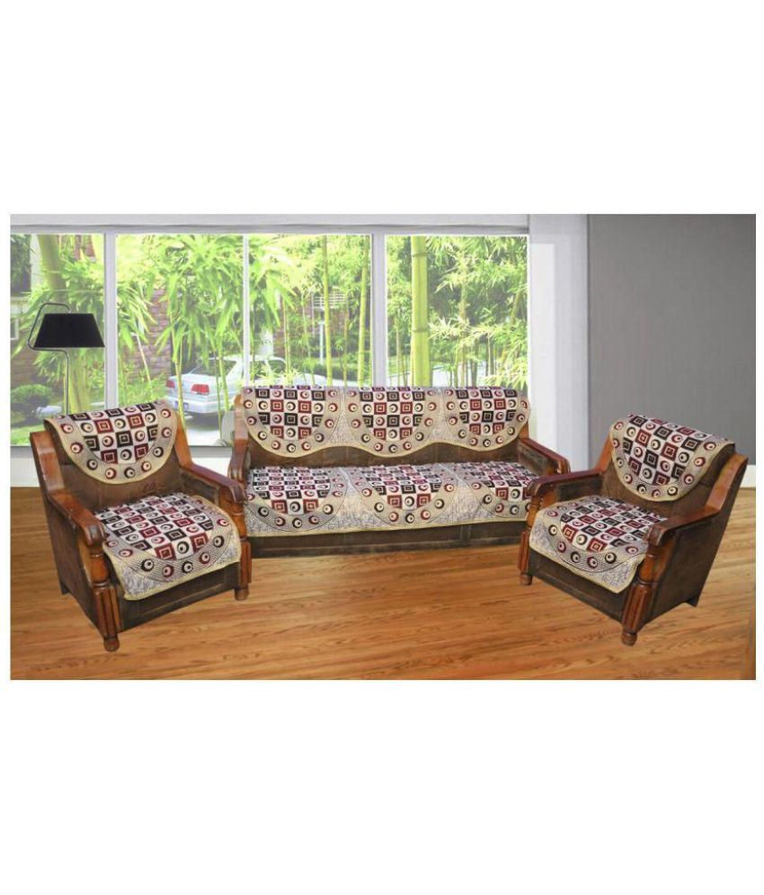 Angel Home 5 Seater Poly Cotton Set Of 6 Sofa Cover Set Buy Angel