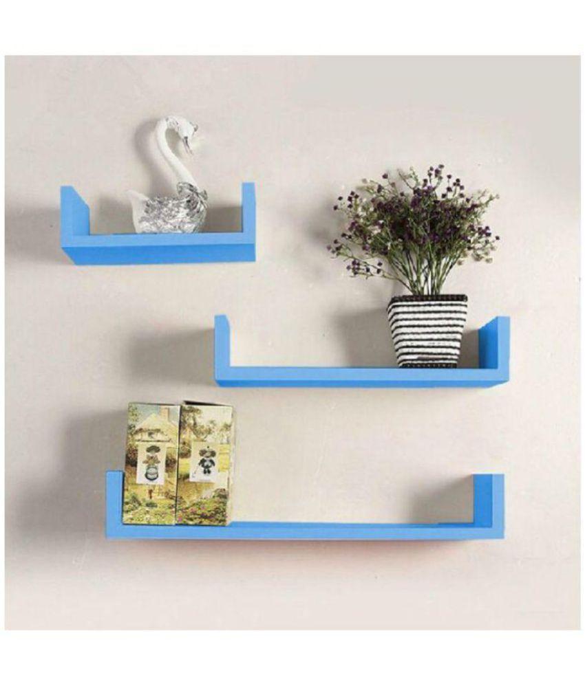 Khan Handicrafts Floating Shelves Blue MDF - Pack of 3