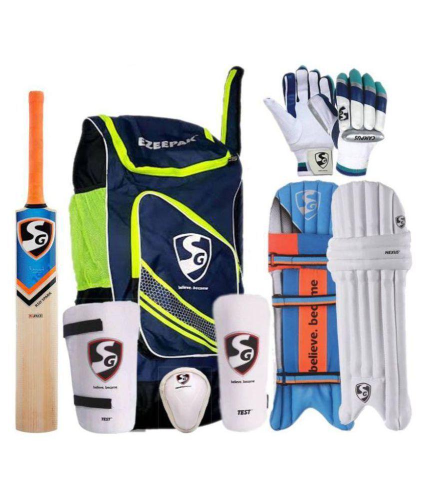 SG Cricket Kit with Ezeepak Bag (without Helmet) Cricket Kit (Bat Size: 4  (Age Group 9 - 11 Years))