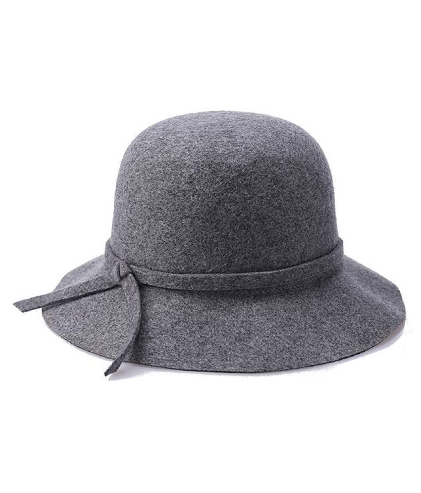 ab8bb1271de ... Women Winter Elegant Wool Bucket Hat Bow Tie Wide Brim Solid Floppy Hat