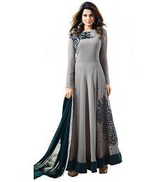 64c4f44cf Quick View. Pavitra Creation Grey and Black Georgette Anarkali Gown Semi-Stitched  Suit