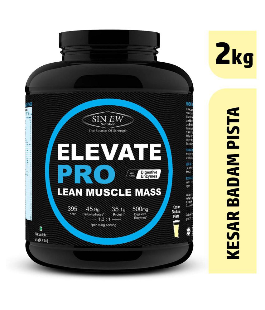 Sinew Nutrition Elevate Pro Lean Muscle Mass Gainer Protein Powder with Digestive Enzymes - 2 Kg Kesar Pista Badam 2 kg Mass Gainer Powder