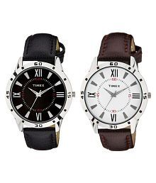 Timepiece-113 & 114 Leather Analog Men's Watch - Pack of 2