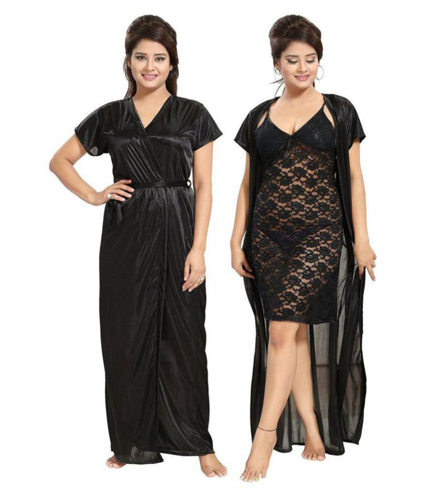 994acf9549 Buy Be You Satin Nighty & Night Gowns - Black Online at Best Prices in  India - Snapdeal