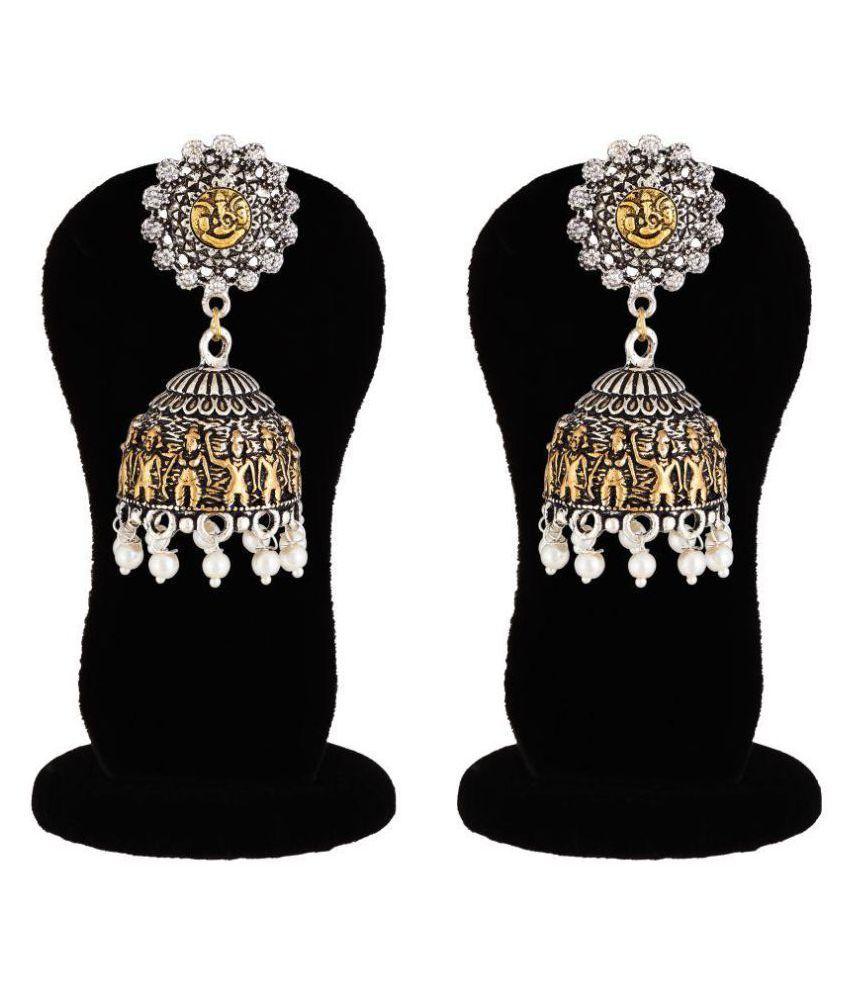 Apara Two Tone  German Silver Oxidised Jhumki Earrings for Girls