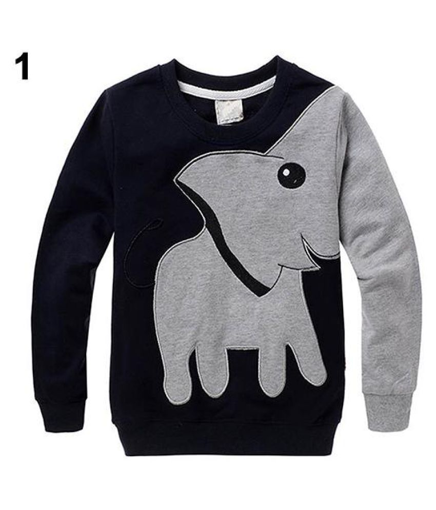 Boy Girl Cute Elephant Cartoon Back Letters Print Long Sleeve Blouse Sweater
