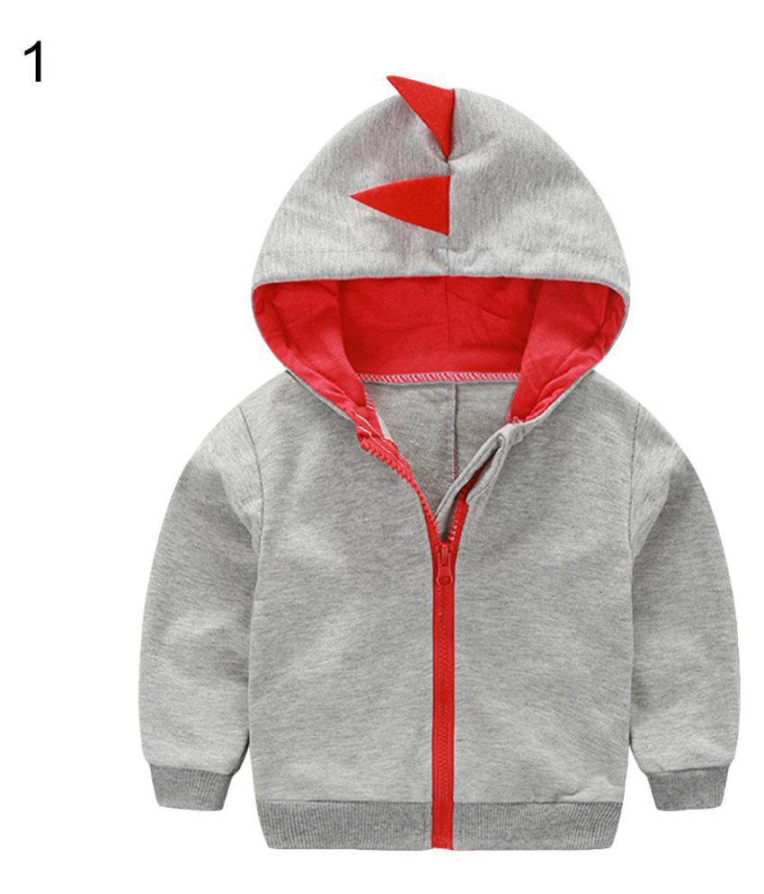Fashion Toddler Baby Boy Dinosaur Hooded Zippered Sweatshirt Coat Jacket Top