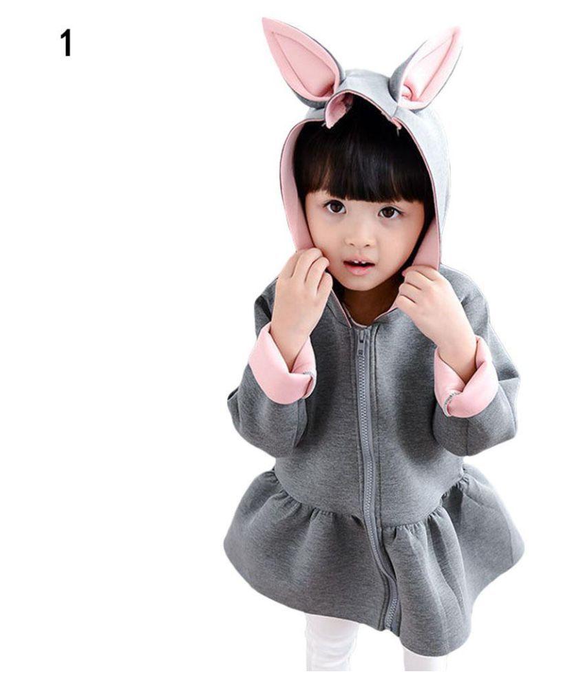 Kid Girls Cute Rabbit Ear Hoodies Coat Casual Long Sleeve Top Zipper Outwear