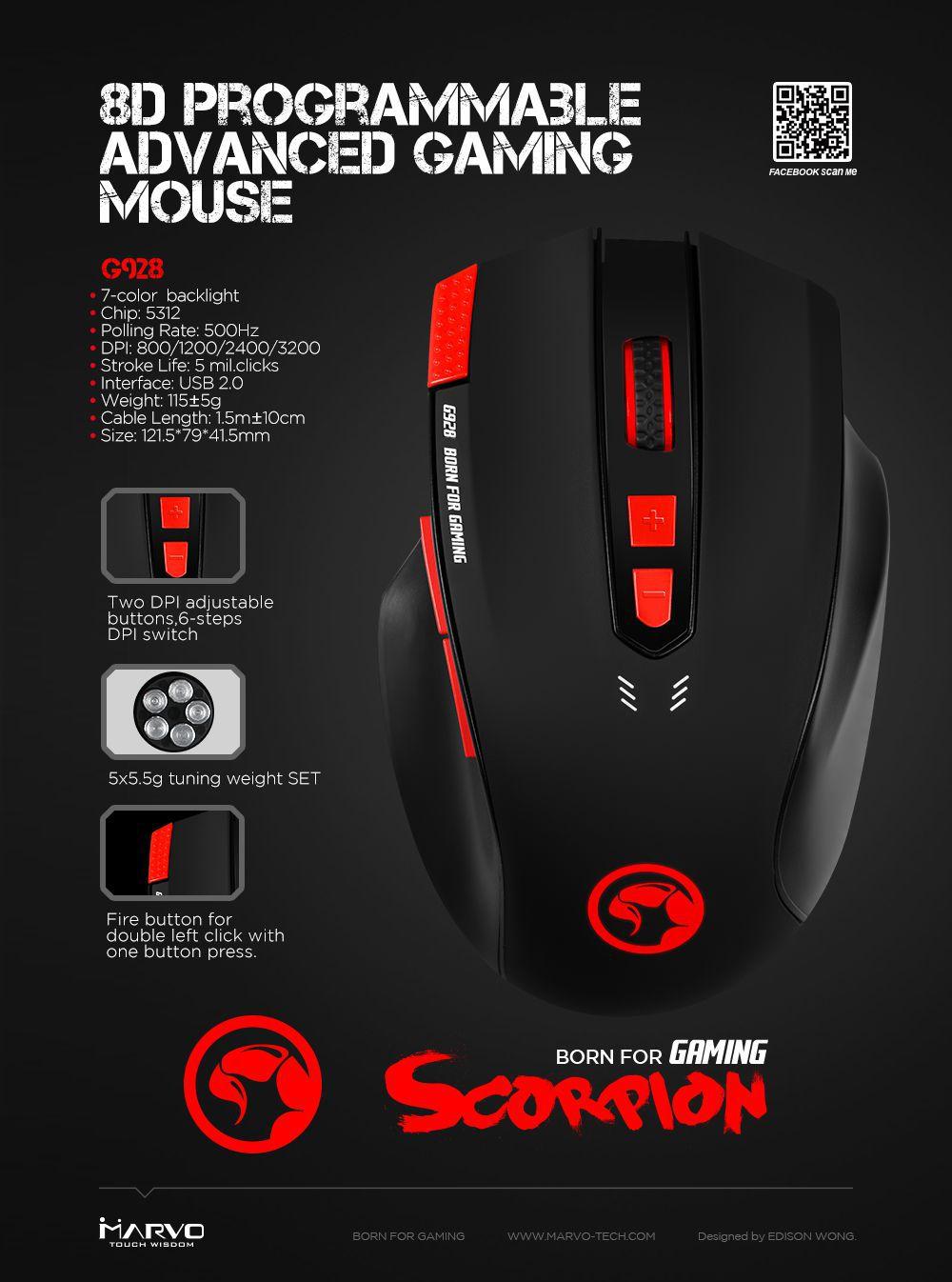 Marvo G928+G1 Optical Mouse   Wired   •Illuminated Gaming Mouse
