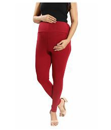 f25062d58c35a Quick View. Mamma's Maternity Maroon Cotton Lycra Maternity Leggings/Tights