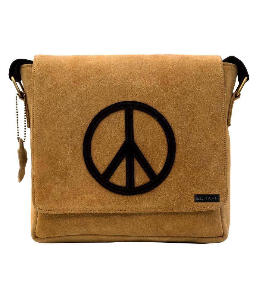 Scharf Amen-Peace Tan Leather Office Messenger Bag