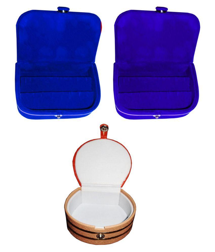 Shivansh Traders Combo 1 pc blue earring box 1 pc blue ear ring folder 1 pc bangle box jewelry vanity case