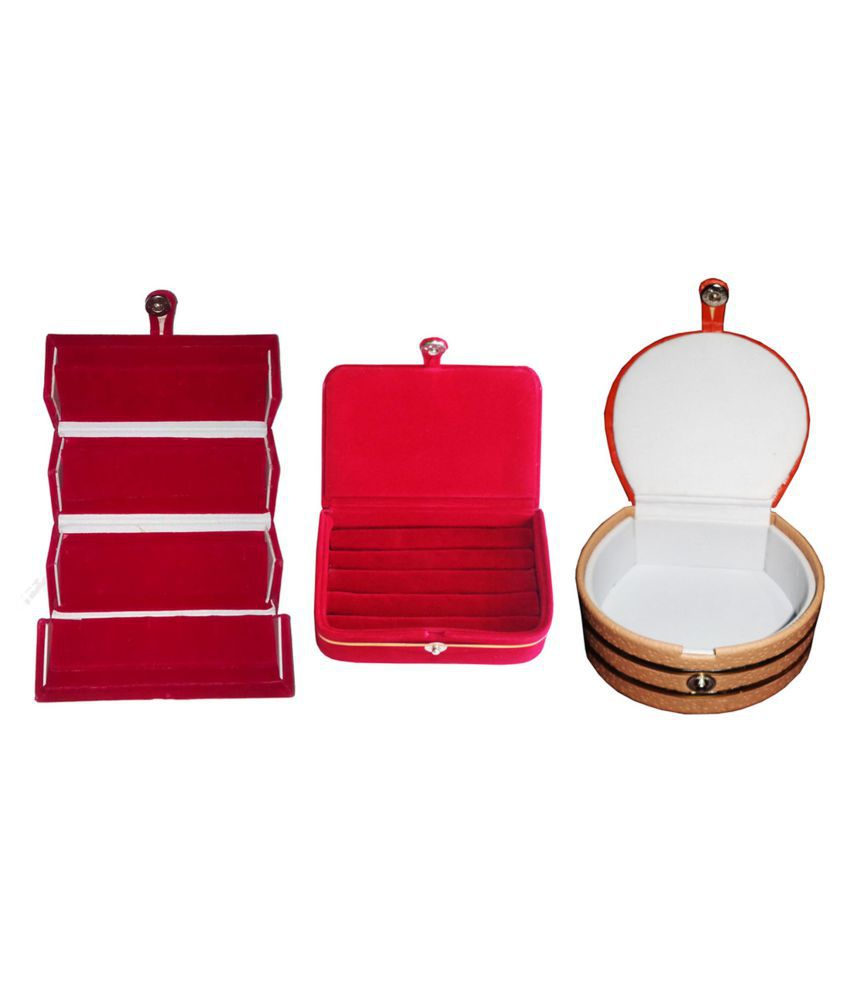 Shivansh Traders Combo 1 pc red earring folder  1 red ear ring box and 1 pc bangle box jewelry vanity case