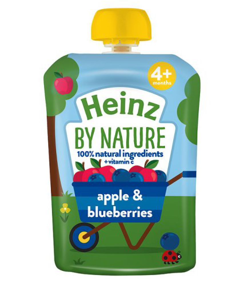 Heinz Heinz Apple & Blueberry Puree 100g Snack Foods for 6 Months + ( 100 gm )