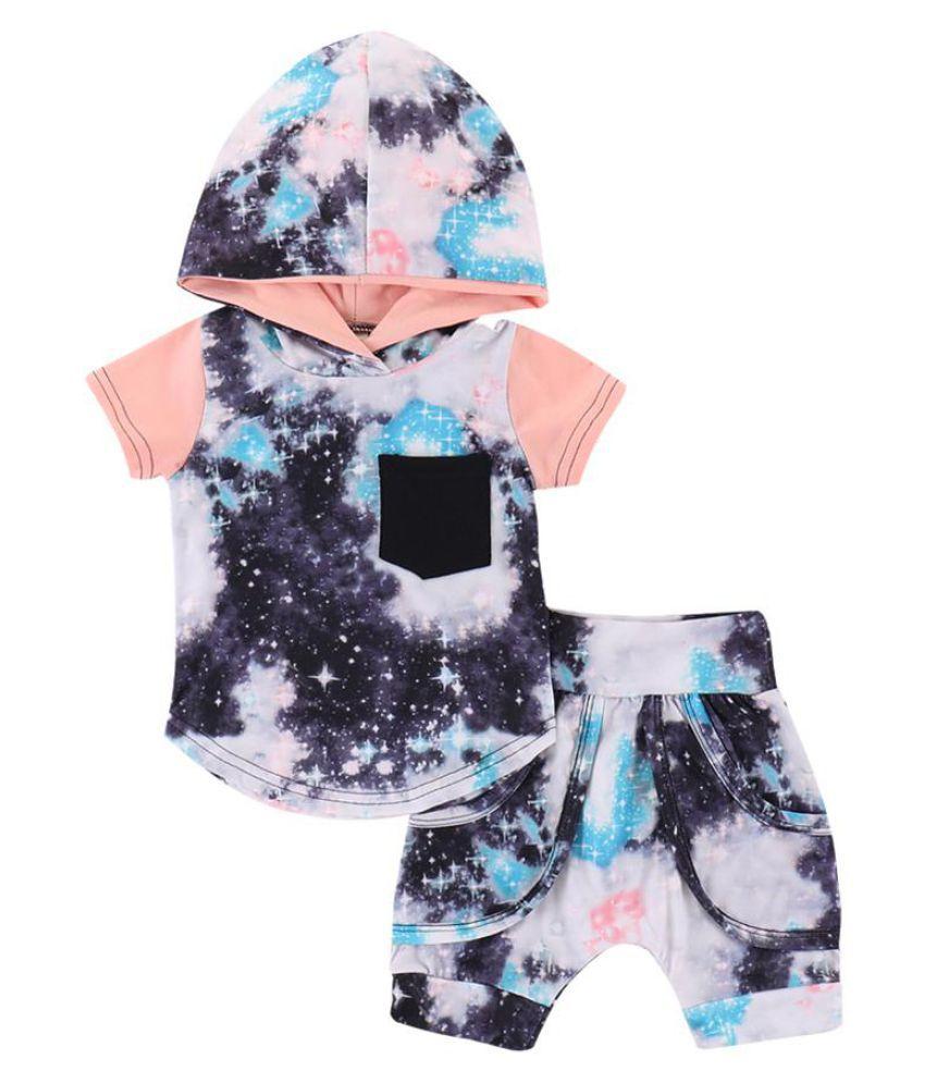2Pcs Toddler Boys Summer Stars Hooded Short Sleeve T-shirts Pants Clothes Set