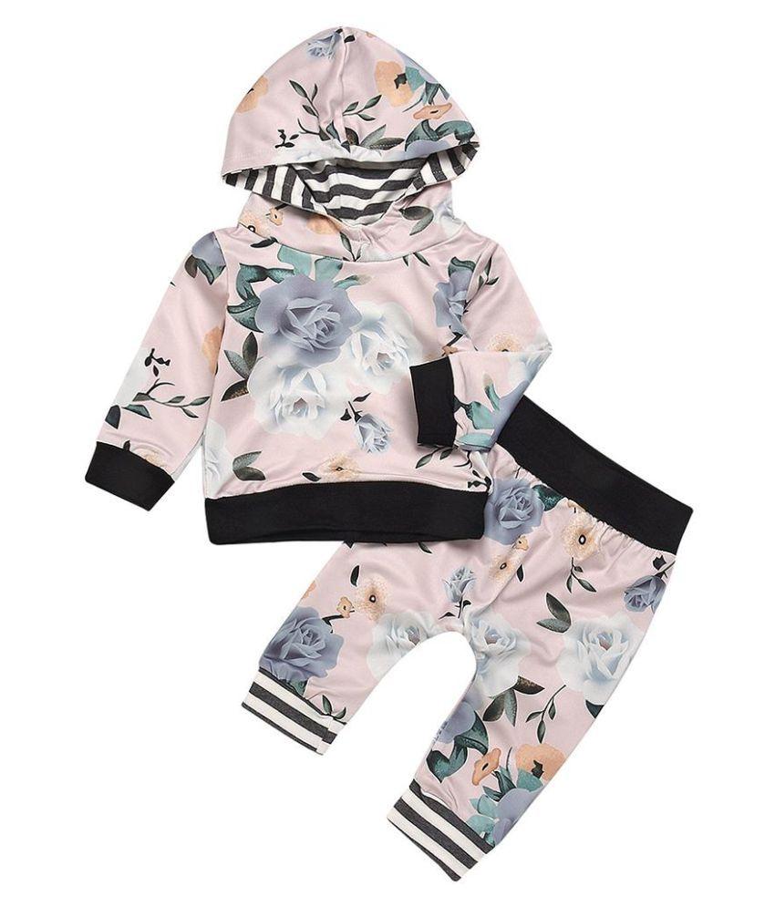 Floral Printed Baby Kids Girls Long Sleeve Hooded Top Hoodie Pants Outfit Set