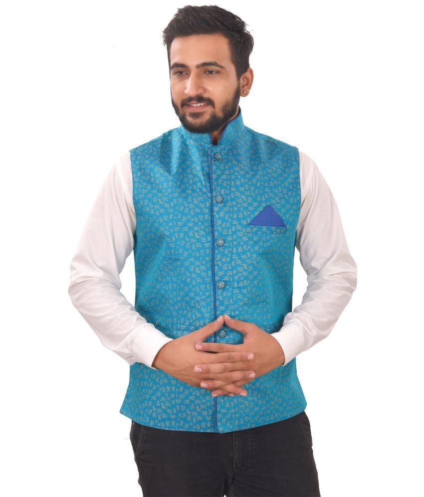 SG RAJASAHAB Sky Blue Polyester Nehru Jacket