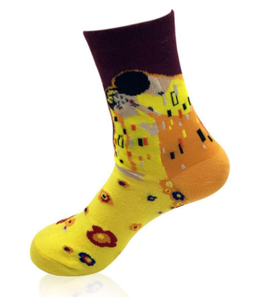 Women Casual Breathable Sweat-absorbent Starry Sky Printed Cotton Socks
