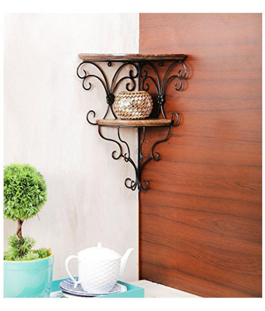 wood in style Floating Shelves Brown Iron - Pack of 1