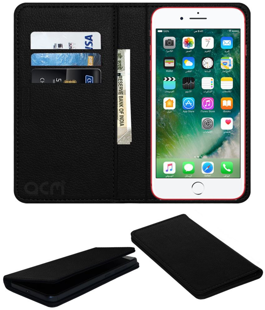 Apple iPhone 7 Flip Cover by ACM - Black Wallet Case,Can store 3 Card/Cash