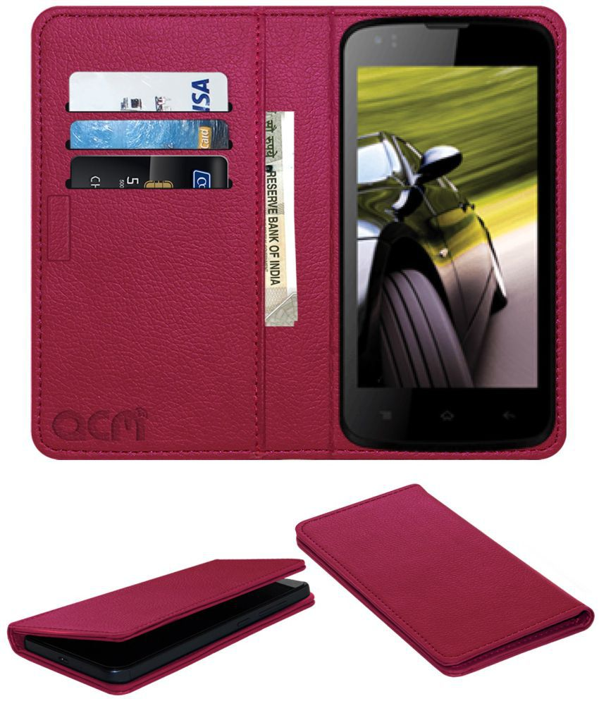 Intex Cloud Pace Flip Cover by ACM - Pink Wallet Case,Can store 3 Card/Cash