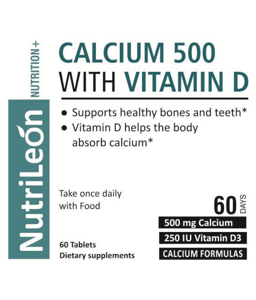 NutriLeon Calcium Vitamin D3 Supplement Natural Minerals 60 no s Minerals  Tablets