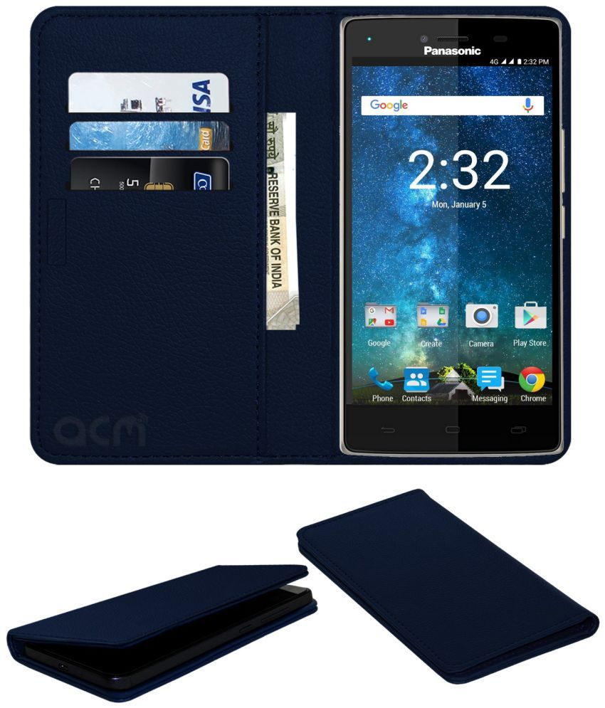 Panasonic Eluga Turbo Flip Cover by ACM - Blue Wallet Case,Can store 3 Card/Cash